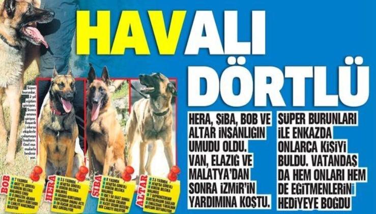 Süper burunlar Hera, Şiba, Bob ve Altar insanlığın umudu oldu! Van, Elazığ ve Malatya'dan sonra İzmir'in yardımına koştu...