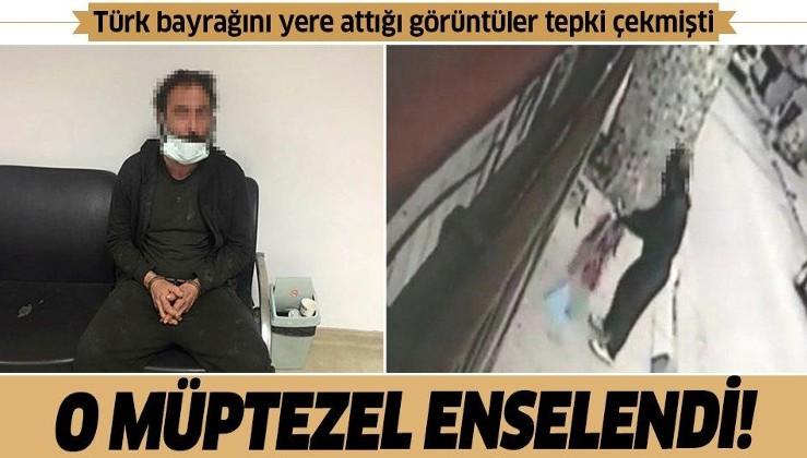 Beykoz'da Türk bayrağını yere atan şüpheli yakalandı! O anlar kamerada
