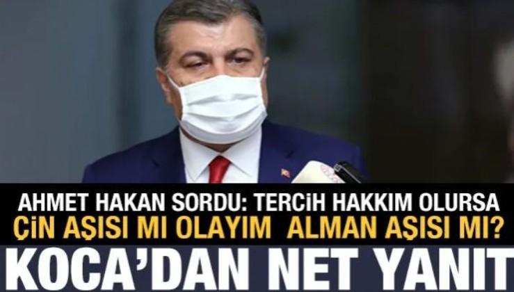 Ahmet Hakan, Bakan Koca'ya sordu: Çin aşısı mı Alman aşısı mı?