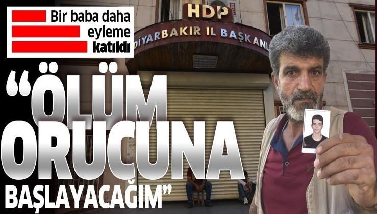 """HDP'nin Diyarbakır İl Binası önünde başlayan eyleme bir baba da katıldı! """"Oğlum HDP binasına girdi bir daha çıkmadı""""."""