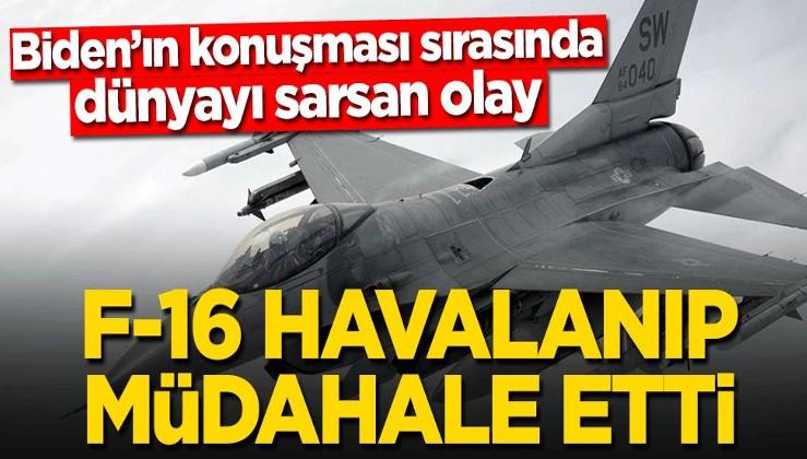 Joe Biden'ın konuşması sırasında dünyayı sarsan olay! F-16 havalanıp müdahale etti