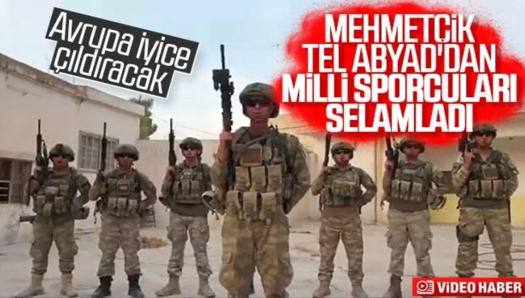 Türk askeri milli sporculara Tel Abyad'dan selam yolladı