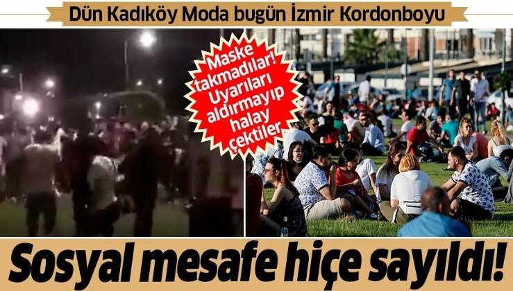 İzmir'de şoke eden görüntü: Kordonboyu'nda sosyal mesafe hiçe sayıldı vatandaşlar halay çekti!