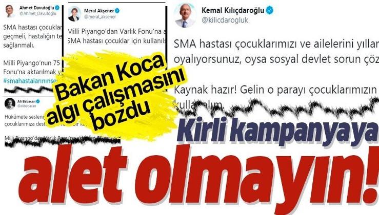 Sağlık Bakanı Koca'dan flaş açıklama: SMA'lı evlatlarımız üzerinden yürütülen kirli kampanyaya iyi niyetli hiç kimsenin alet olmaması gerekir