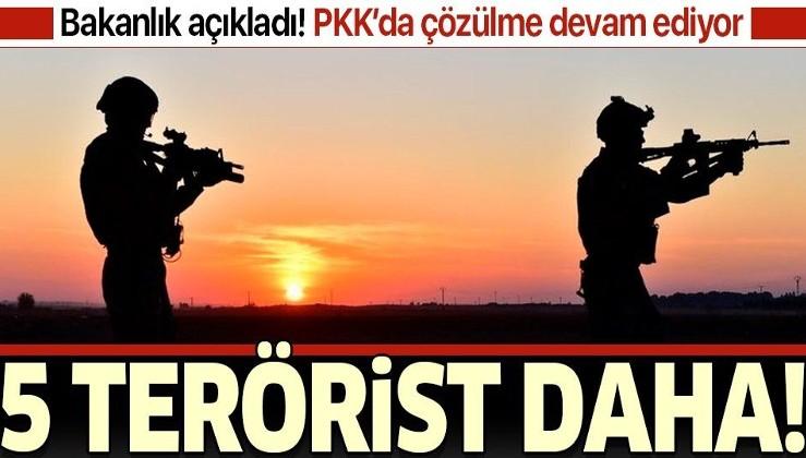 5 terörist ikna yoluyla teslim oldu
