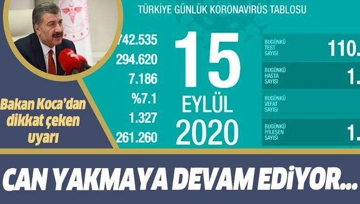 Son dakika: Sağlık Bakanı Fahrettin Koca 15 Eylül koronavirüs vaka sayılarını açıkladı