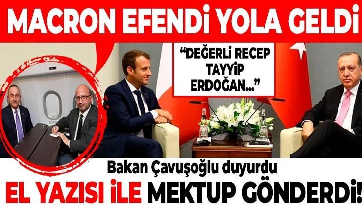 """Dışişleri Bakanı Mevlüt Çavuşoğlu açıkladı! Macron Erdoğan'a el yazısı ile mektup gönderdi: """"Değerli Tayyip..."""""""