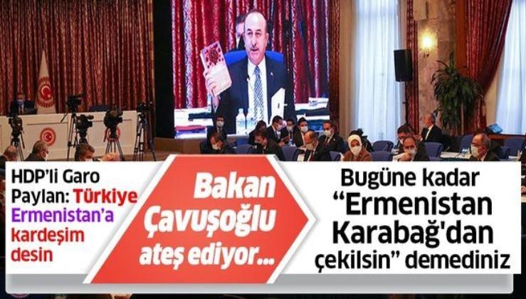 Mevlüt Çavuşoğlu'ndan HDP Diyarbakır Milletvekili Garo Paylan'a: Bugüne kadar Ermenistan Karabağ'dan çekilsin demediniz