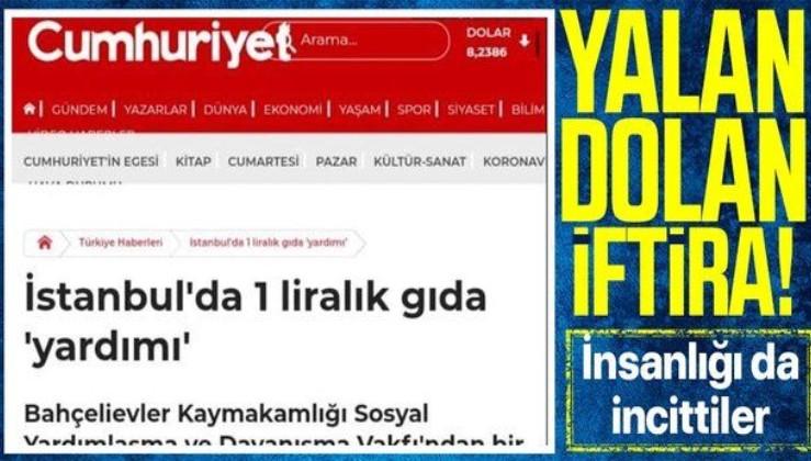 """İçişleri Bakanlığı'ndan Cumhuriyet Gazetesi'nin """"İstanbul'da 1 liralık gıda yardımı"""" başlıklı haberine yalanlama!"""