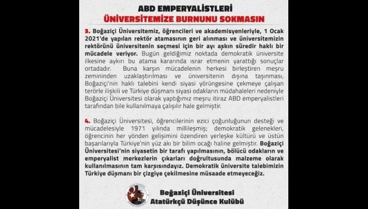 Gerçek Boğaziçili öğrenciler: ABD Emperyalistleri Üniversitemize Burnunu Sokmasın!