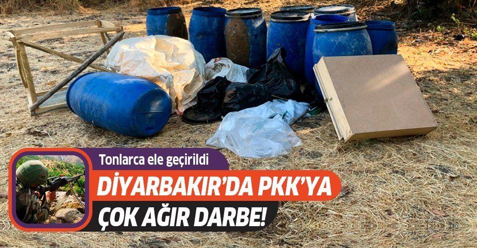 Diyarbakır'da PKK büyük darbe! Tonlarca ele geçirildi