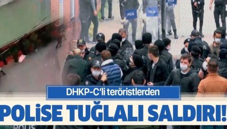 DHKP-C'lilerden Gaziosmanpaşa'da polise tuğlalı saldırı