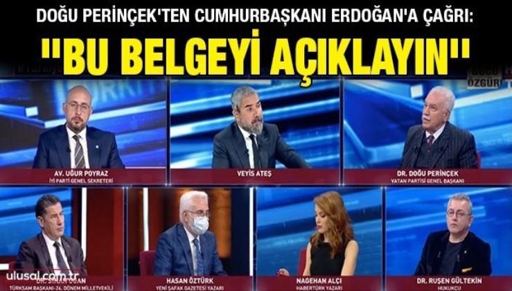 Doğu Perinçek'ten Cumhurbaşkanı Erdoğan'a çağrı: ''Bu belgeyi açıklayın''