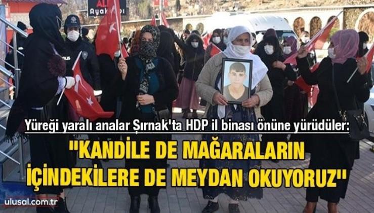 Yüreği yaralı analar Şırnak'ta HDP il binası önüne yürüdüler: ''Kandile de mağaraların içindekilere de meydan okuyoruz''