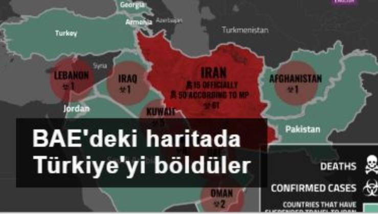 BAE'deki haritada Türkiye'yi böldüler