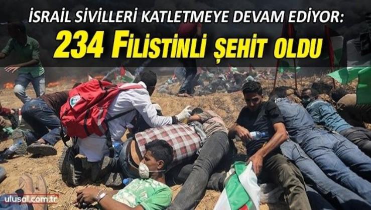 İsrail sivilleri katletmeye devam ediyor: Şu ana kadar 234 Filistinli şehit oldu