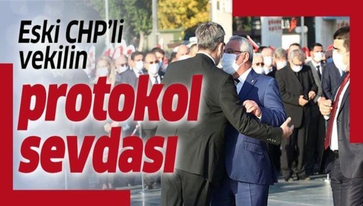 Antalya'daki 10 Kasım töreninde CHP 22. dönem milletvekili Tuncay Ercenk, protokolde en öne geçmek istedi