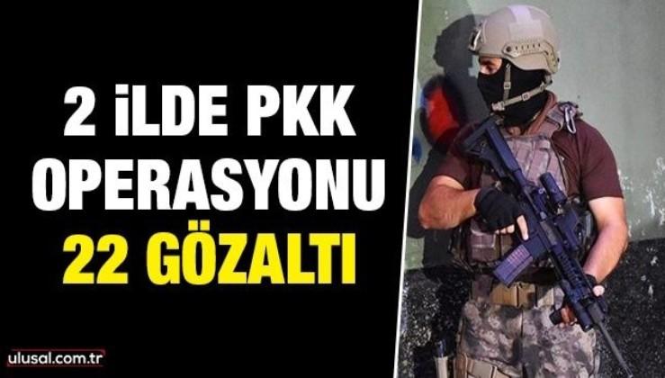 Diyarbakır merkezli 2 ilde terör örgütü PKK operasyonu: 22 gözaltı