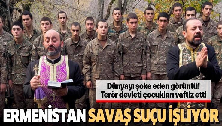 SON DAKİKA: Terör devleti Ermenistan'da papazlar çocuk askerleri vaftiz etti!