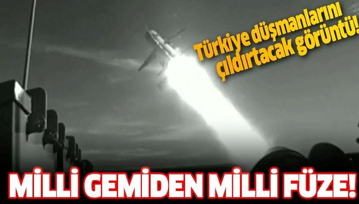 Milli TCG Kınalıada gemisi, milli füze Atmaca'yı ateşledi.