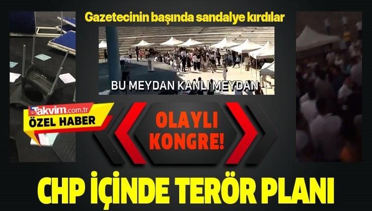 CHP İzmir İl Gençlik Kolları Kongre'sinde terör sloganları atıldı! Bir gazetecinin kafasında sandalye parçalandı