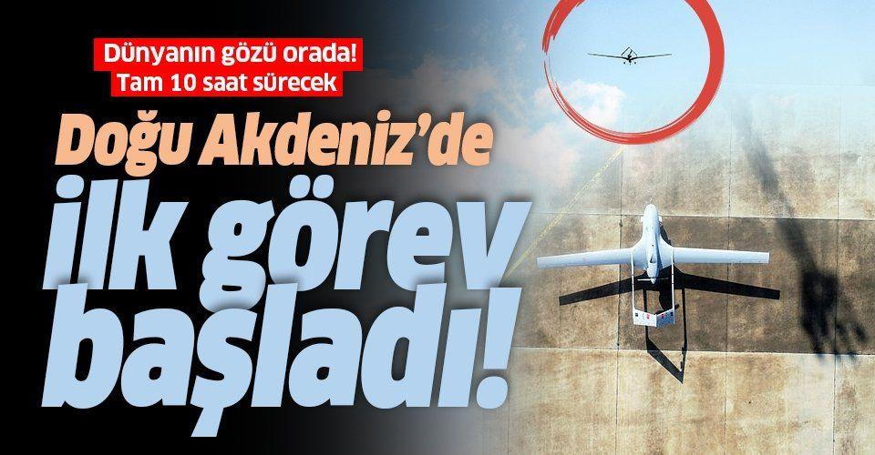 KKTC'den kalkan İHA Doğu Akdeniz'deki ilk görev uçuşuna başladı! 10 saat sürmesi bekleniyor.