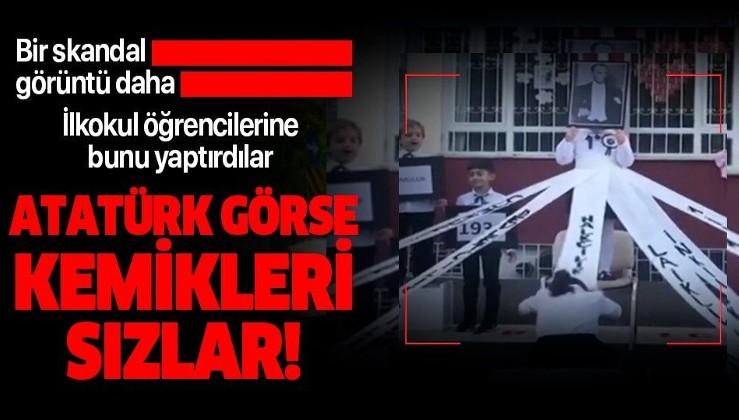 FETÖ'yü sevindiren görüntü: Bir skandal görüntü daha! Beylikdüzü'nde ilkokul öğrencilerini Atatürk posterine secde ettirdiler!