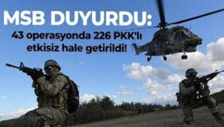 Milli Savunma Bakanlığı duyurdu! 226 terörist etkisiz hale getirildi