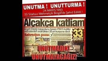Usta birliklerine giderken PKK'lı teröristlerce şehit edilen sivil ve silahsız 33 asker anılıyor
