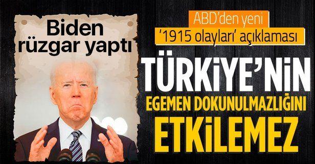 """ABD Dışişleri Bakanlığı'ndan Biden'ın '1915 olayları' sözlerine ilişkin açıklama: Türkiye'nin """"egemen dokunulmazlığını"""" etkilemez"""