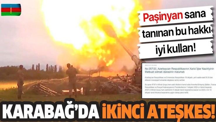 Dağlık Karabağ'da ikinci ateşkes! Azerbaycan ve Ermenistan arasında ateşkes sağlandı