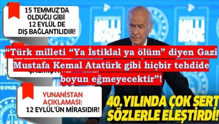"""Bahçeli: """"Ya İstiklal Ya Ölüm diyen Gazi Mustafa Kemal Atatürk gibi hiçbir tehdide aldırış etmeyecektir."""""""