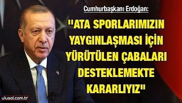 Cumhurbaşkanı Erdoğan: ''Ata sporlarımızın yaygınlaşması için yürütülen çabaları desteklemekte kararlıyız''