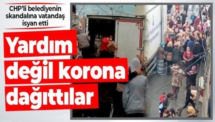 İzmir Büyükşehir Belediyesi'nden erzak dağıtım rezaleti! Korona önlemleri hiçe sayıldı