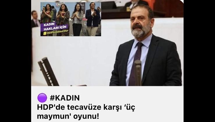 HDP'de tecavüze karşı 'üç maymun' oyunu!
