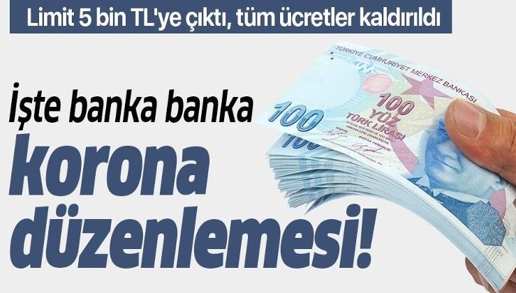Bankalardan koronavirüs düzenlemesi! Limit 5 bin TL'ye çıktı, tüm ücretler kaldırıldı! İşte banka banka yeni düzenlemeler!