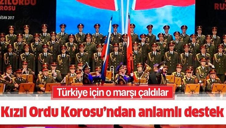 """Kızıl Ordu Korosu'ndan Türkiye'ye Mehter Marşlı moral desteği: """"Kahraman Türk milletine..."""""""