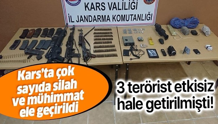 Son dakika: Kars'ta etkisiz hale getirilen 3 teröriste ait silah ve mühimmat ele geçirildi