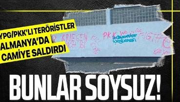 Almanya'da terör örgütü YPG/PKK'lı teröristler tarafından cami duvarına tehdit mesajları yazıldı!