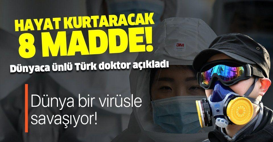 Corona virüsünden korunma yolları! Dünyaca ünlü doktor Mehmet Öz açıkladı!.