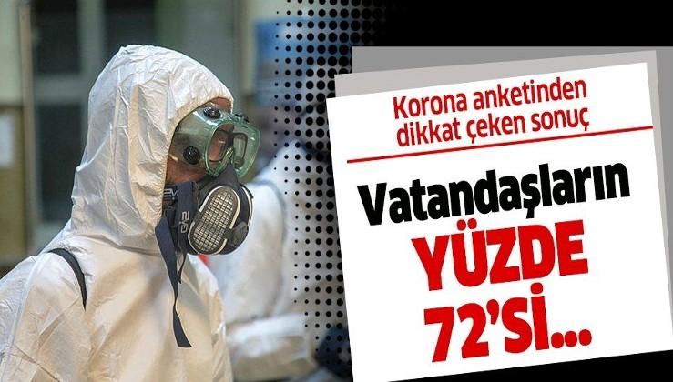 Koronavirüs anketinden çıkan sonuç dikkat çekti! İnsanların 72'si.....