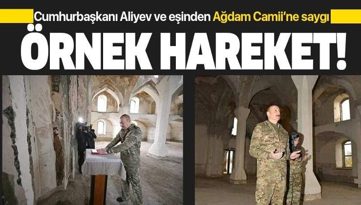 Azerbaycan Cumhurbaşkanı Aliyev ve eşi Mihriban Aliyeva'dan Ağdam Cuma Camii'nde örnek hareket