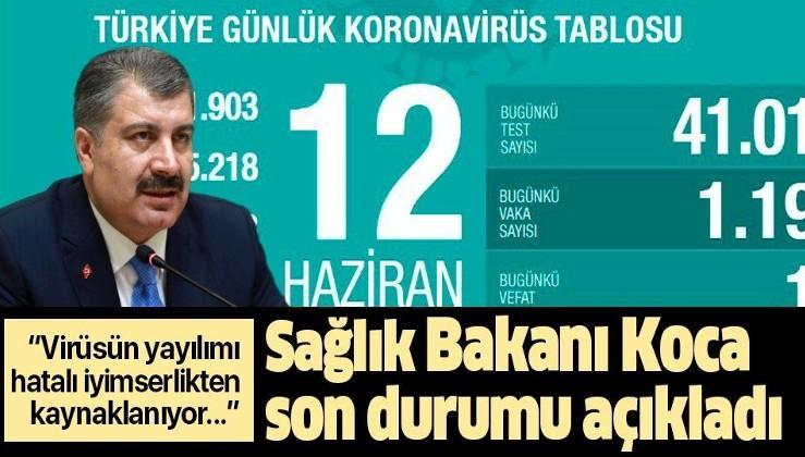 Son dakika: Sağlık Bakanı Fahrettin Koca 12 Haziran koronavirüs vaka sayılarını açıkladı