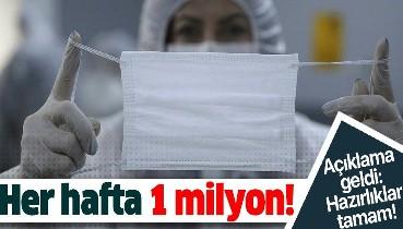 Haftada 1 milyon maske, 5 bin tulum, 5 bin litre dezenfektan üretiliyor.