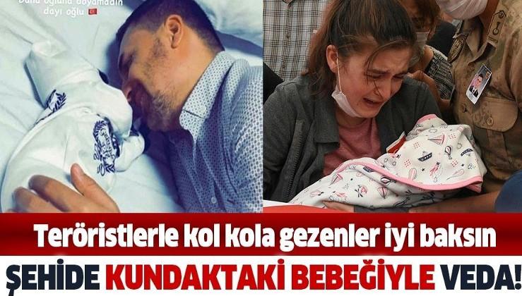Kahvaltıcı sahtekarlara gösterin: Şehit Astsubay Sinan Aktay'a kundaktaki bebeğiyle veda