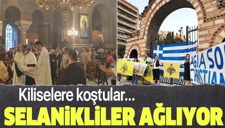 Selanikliler Ayasofya-i Kebir Camii'yi protesto etti