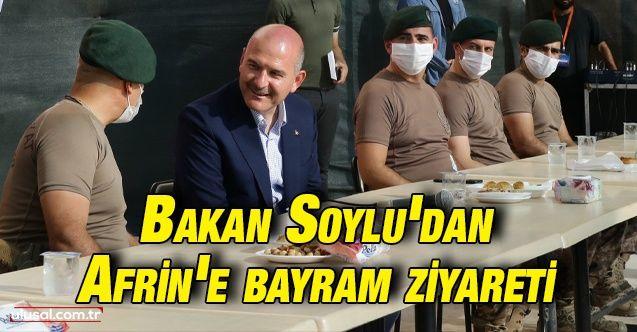 İçişleri Bakanı Süleyman Soylu Afrin'de güvenlik güçleri ile bayramlaştı