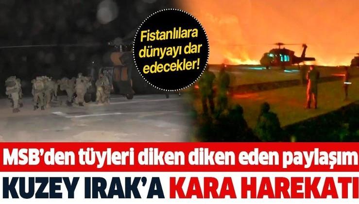 İŞTE İLK GÖRÜNTÜLER: Kuzey Irak'a kara harekatı başladı! Komandolar Haftanin'de...