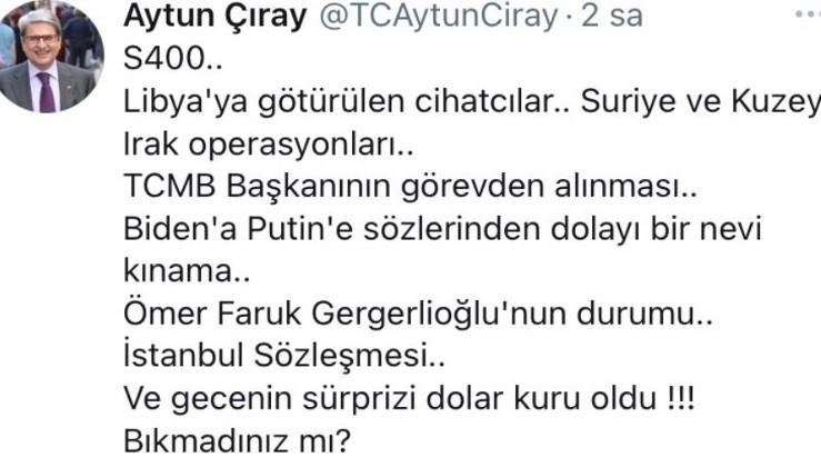 İyi Partili Aytun Çıray ekonomiye operasyonu itiraf etti
