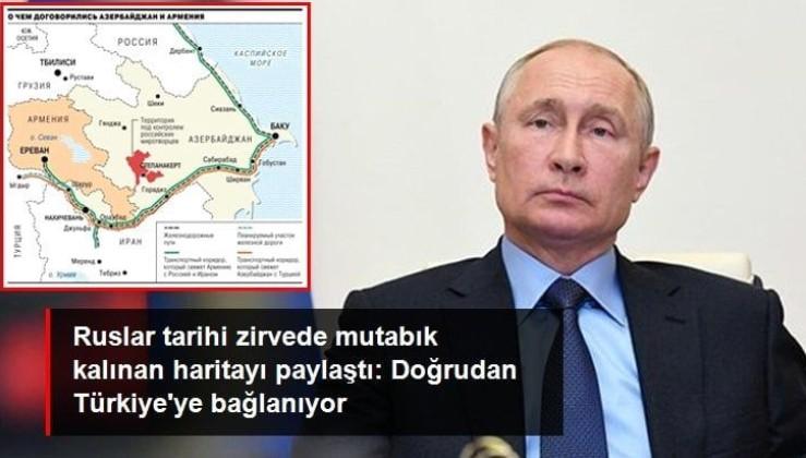 Rus basını tarihi Dağlık Karabağ haritasını yayınladı! Azerbaycan ile Türkiye doğrudan birbirine bağlanıyor